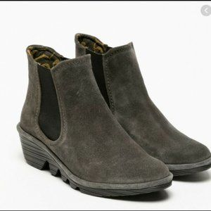 Fly London Phil suede chelsea ankle wedge boots